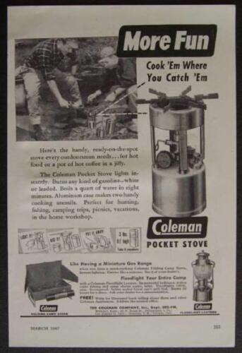 Coleman Pocket Stove 1947 vintage AD *More Fun Cook Em Where you Catch /'Em*