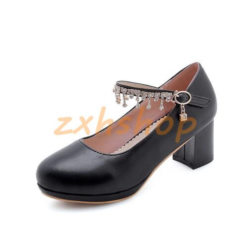 Gr.32-43 Süß Damen Schnalle Party Pumps Blockabsatz Kunstleder Schuhe