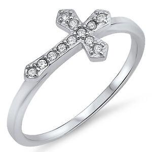 Sterling-Silver-925-CZ-Sideways-Crucifix-Cross-Women-039-s-Fashion-Ring-Size-4-10