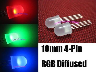 20pcs 10mm 4-Pin Tri-Color RGB Diffused Common Anode Red Green Blue LED Leds New