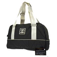 Auth CHANEL Sport CC Logos Shoulder Bag Nylon Rubber Khaki Italy Vintage 05A878