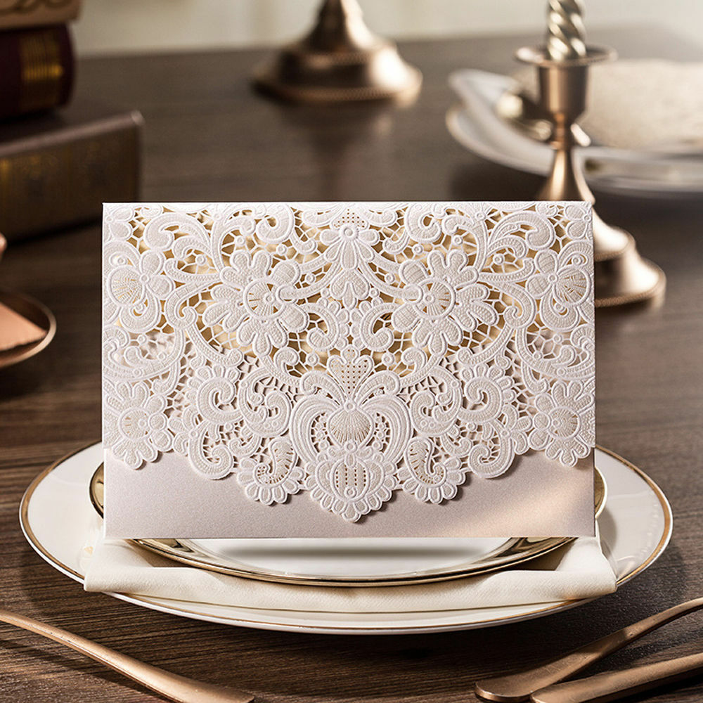 100 X Ivory Laser Cut Wedding Invitation Cards Special Offer