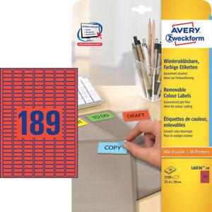 3-780-Avery-Zweckform-Etiquetas-L6036-20-Rojo