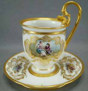 Sevres-Hand-Painted-Courting-Couple-amp-Raised-Gold-Oversized-Cup-amp-Saucer-C-1889