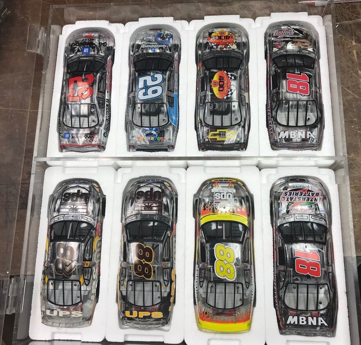 Rare Lot Of 8  Clear 2002 Action 1 24 Race Cars