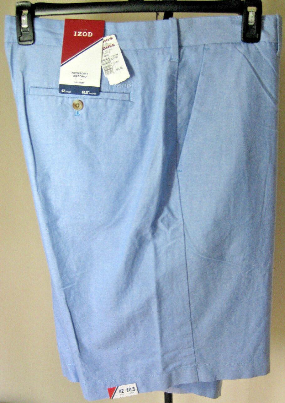 NWT Men's IZOD Newport Oxford Shorts 42W Solid bluee Lightweight 100% Cotton New