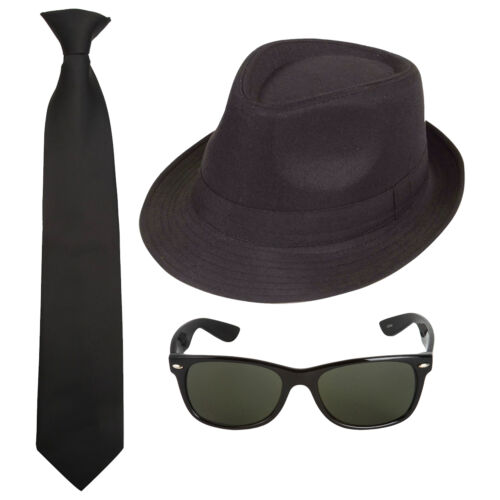 Sunglasses Hat Tie Blues Brothers Movie Film Fancy Dress Costume Set