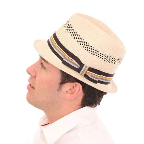 60 cm PAC Fedora MEN/'s qualità Crushable Borsalino pork pie FEDORA Paglia Cappello Sole 56
