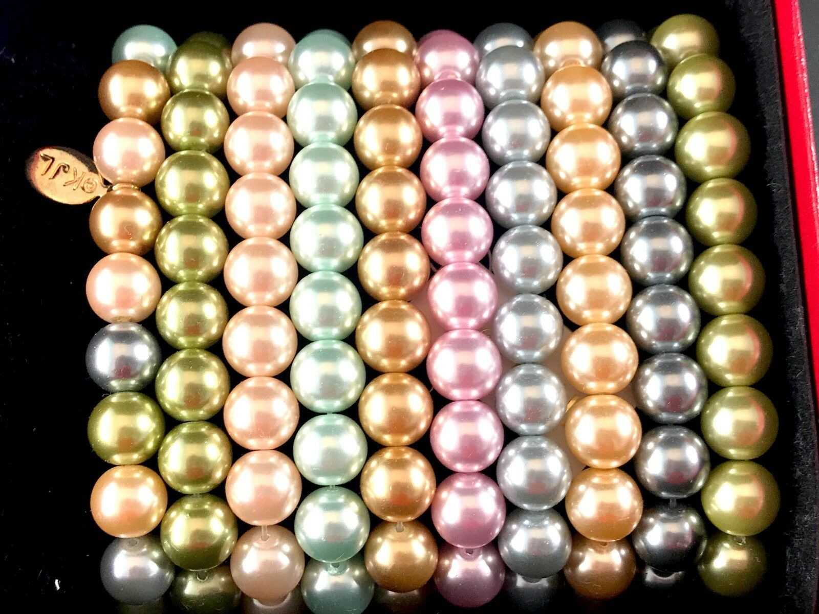 NIB KENNETH JAY LANE FIRST LADY SIMULATED PEARL PASTEL COLOR BRACELET SET OF 10