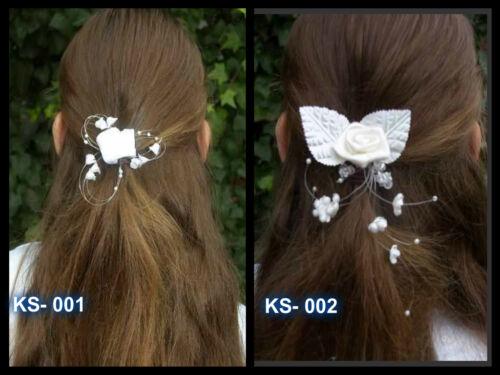 ❤ Braut Kopfschmuck Haarschmuck Haarnadel Kommunion Blumenmädchen weiß ivory