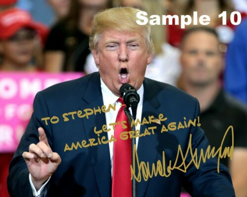 FREE SHIPPING! Customized President Donald Trump Gold Autographed 8x10 Photo