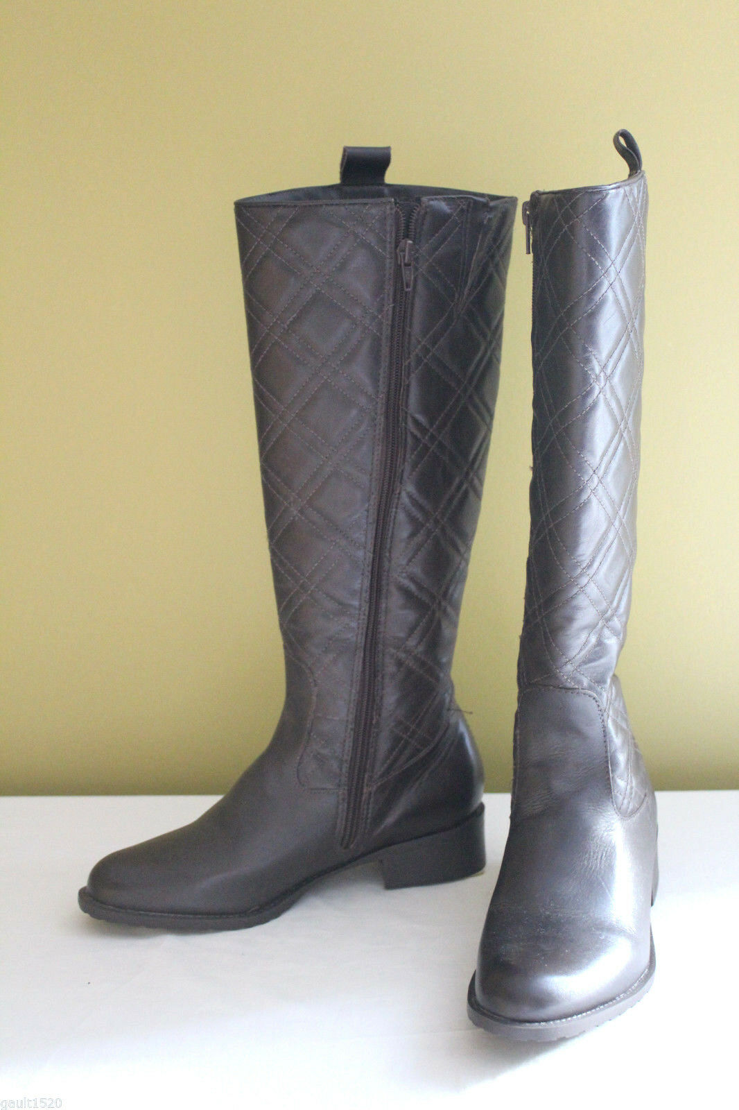 NEW  Bellissima Dark braun Leather Zip Knee High Quilted Stiefel 5 34  200