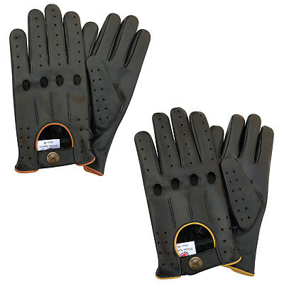New Men/'s fashion driving gloves slim fit motorbike black colour with piping 507