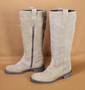 7S-Damen-Stiefel-Biker-Boots-Velours-Leder-beige-braun-Gr-37-flacher-Absatz