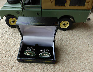 Land Rover Series 2 Defender Badge Logo Cufflinks Cufflink Enamel Silver Plated