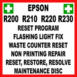 Details about EPSON STYLUS PHOTO R200 R210 R220 R230 : SERVICE RESET REPAIR  FAULT FIX DISC