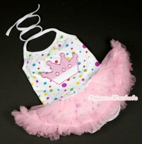 White Rainbow Dot Crown Halter Romper Jumpsuit Pink Dress Shoes 3pc Set NB-2Year