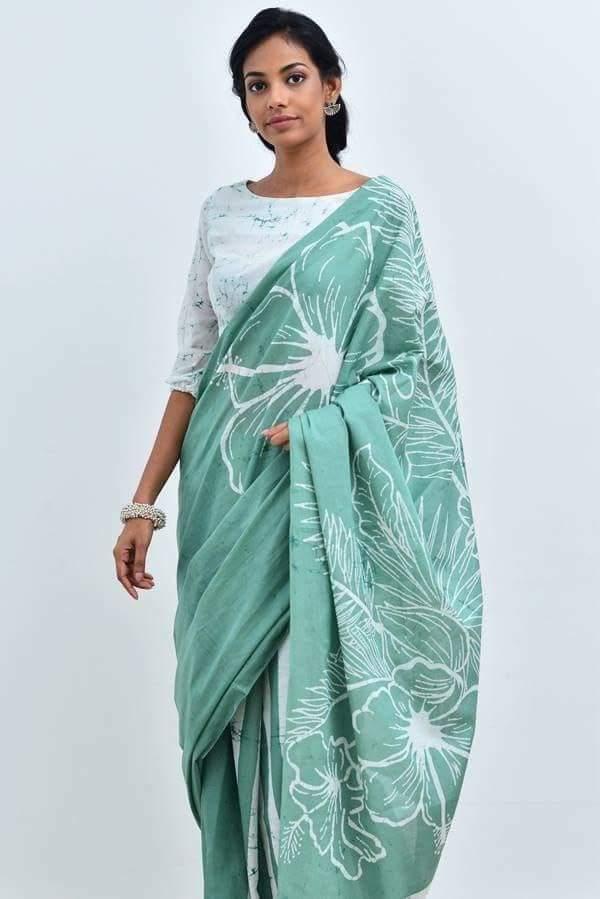 Indiian Vintage Women HandMade 100% Cotton Print Saree & Blouse Piece Pack Of 5
