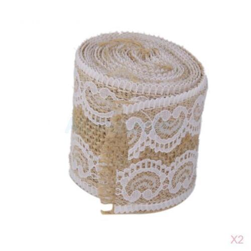 2pc 2 M Natural jute Hession toile de jute ruban bordure en dentelle Guirlande Mariage Rustique Décoration