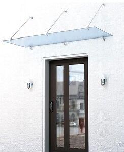 vsg glas vordach pultdach haust r mit edelstahl titan halterung 150x90 200x100 ebay. Black Bedroom Furniture Sets. Home Design Ideas
