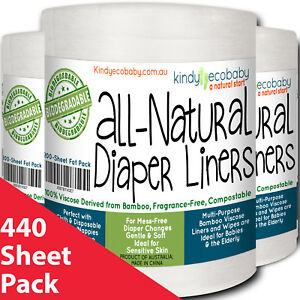 440-x-Bamboo-Flushable-Liners-Disposable-for-Diaper-Nappy-baby-wipes-two-rolls