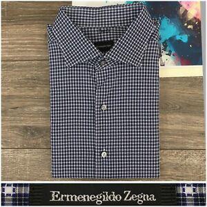 Recent-Ermenegildo-Zegna-Mens-Long-Sleeve-Shirt-Size-2XL-Cotton-Button-Front