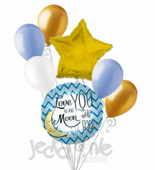 14pc BALLOON set IT/'S a BOY baby SHOWER love you to the MOON and BACK party NU