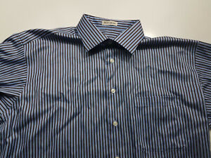 Pronto-Uomo-Mens-Striped-Size-Large-Long-Sleeve-Button-Front-Shirt-Non-Iron
