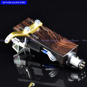New5pcs-silver-grey-cartridge-pure-silver-wire-CNC-ebony-wood-headshell-assembly