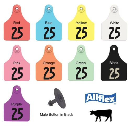 """ALLFLEX GLOBAL Large Ear Tags with Buttons 3/"""" X 2-1//4/"""" RED #176-200 25ct Pkg"""