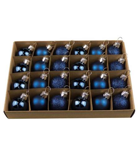 30mm 30mm diameter Boxes of 24 Mixed Finish Baubles box of 24 Blue