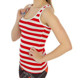 RED-WHITE-STRIPED-STRIPES-RACER-BACK-VEST-TOP-FANCY-DRESS-TUTU-SIZE-12-14