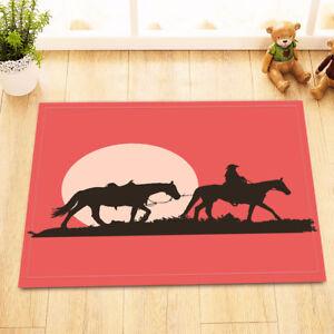 Western Cowboy Sunset Forest Non-Slip Bathroom Mat Home Decor Door Rug Carpet