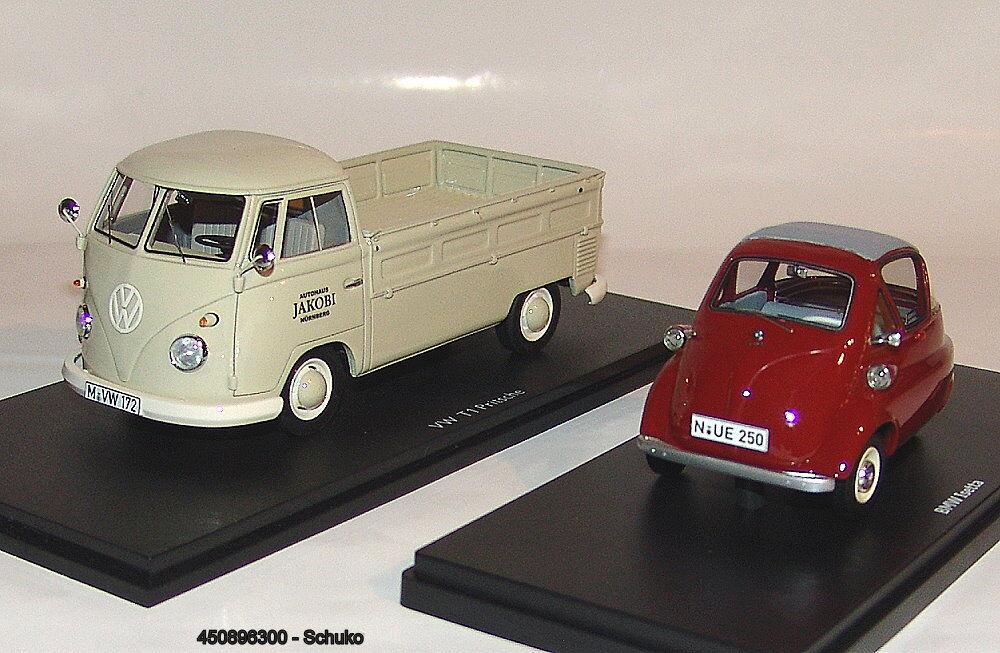450896300 schuco - vw t1b pritschenwagen mit bmw isetta standard  autohaus jakob