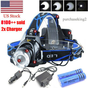 990000LM-Rechargeable-Head-light-LED-Tactical-Headlamp-Zoomable-2x-Charger-18650
