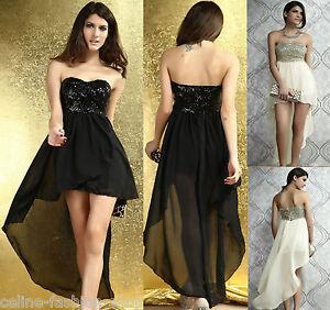 Minikleid vokuhila pailletten chiffon fest kleid abendkleid schwarz beige 34 46 ebay - Vokuhila kleid chiffon ...