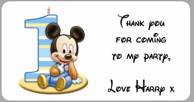 24 X Personalised Mickey Mouse 1st Birthday Party Thank You  Labels Stickers