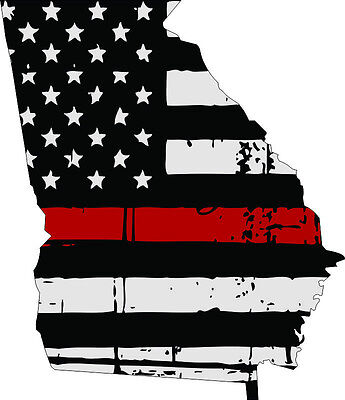 Various Sizes Thin Red line decal State of Vermont Tattered Flag Decal