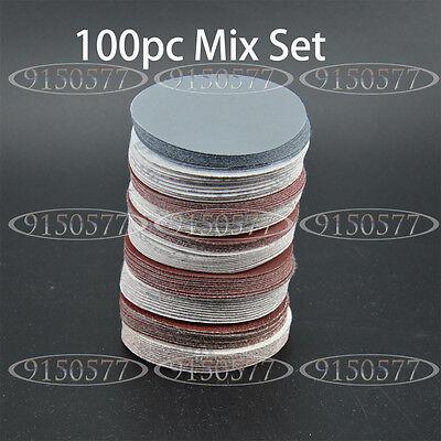 100pcs 2inch(50mm) Sander Disc Sanding Pad Polishing Pad Sandpaper Mix Set