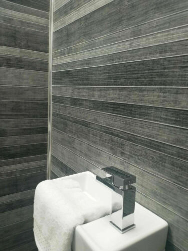 Grey Tile Effect Large Shower Panels Bathroom Wet Wall PVC 10mm Thick Cladding