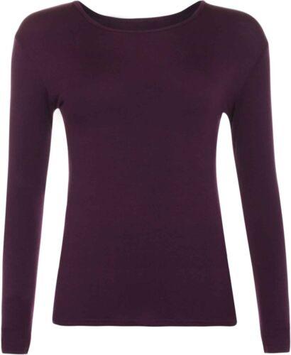 New Womens Long Sleeve Round Neck Plain Basic Ladies Stretch T-Shirt Top SM-3XL