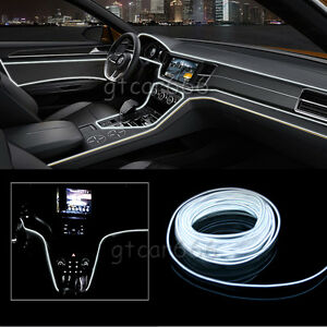2m 12v car led el wire white cold light lamp neon lamp interior atmosphere light 707427239838 ebay. Black Bedroom Furniture Sets. Home Design Ideas