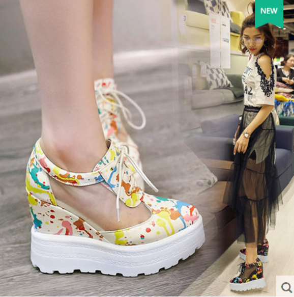 femmes Lace Up Athletic chaussures Mesh Printed Breathable baskets Wedge Platform New