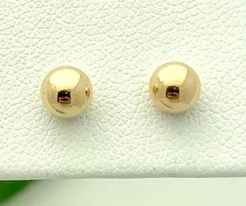 ON SALE Vintage 14K Yellow Gold Rimmed Salmon Color Bead 8mm Stud Earrings
