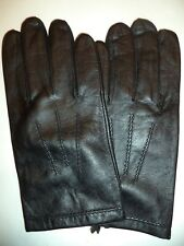 Brown, L Downholme Classic Leather Cashmere Lined Gloves for Men