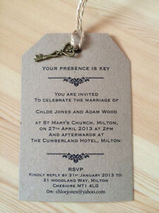 Wedding Invitation Presence Is Key Vintage Luggage Tag Label