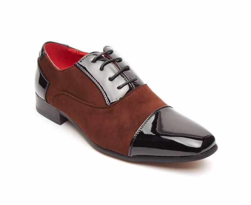 Rossellini Harry Scarpe da uomo nero in finta casual pelle lucida marrone scarpa casual finta a punta 730821