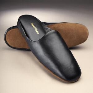 3893044e77b Details about Samuel Windsor Mens Slippers Genuine Leather Black Mule Slip  On Sizes 5-14 NEW