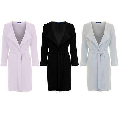 Nett Women's Open Front Lightweight Belted Tie Waist Ladies Textured Coat Jacket SchnäPpchenverkauf Zum Jahresende