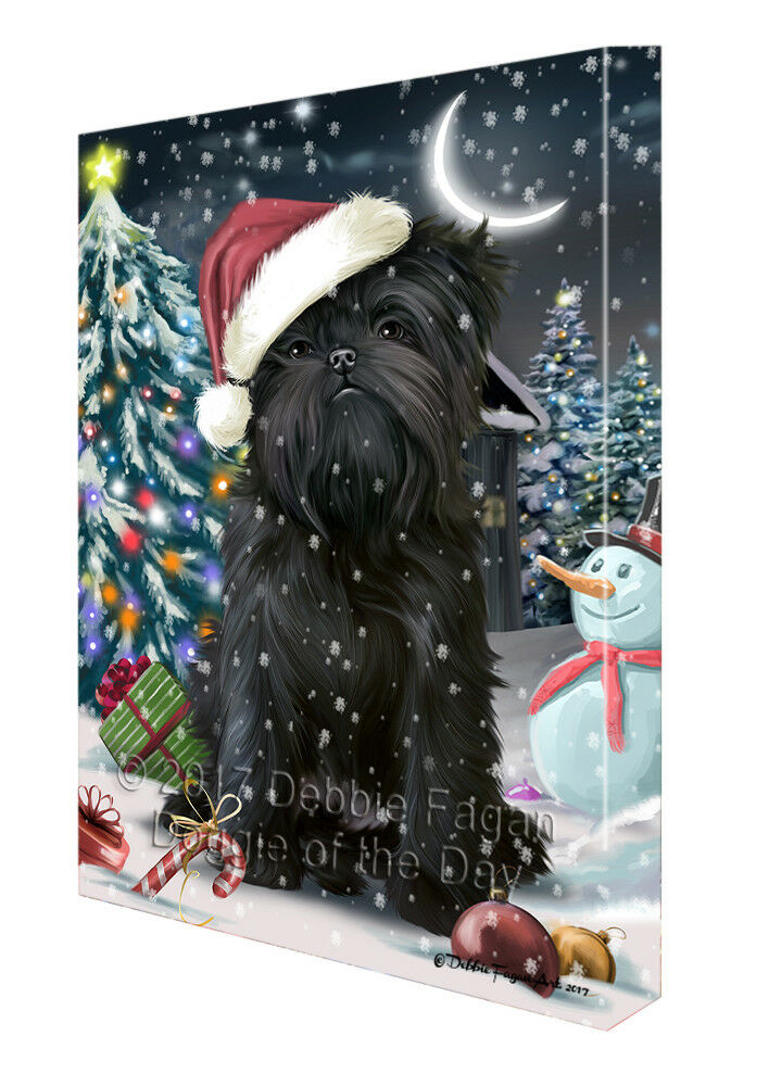 Holly Jolly Christmas Affenpinschers Dog in Holiday Canvas Wall Art T130